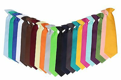 "Cheap $3.50 Boys Solid tie 14"" Clip On Green Gold Orange Black Red Blue Silver"