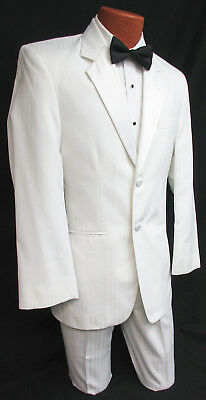White Jean Yves Tuxedo Jacket w/ Pants Clearance Discount Cheap Prom Wedding Tux