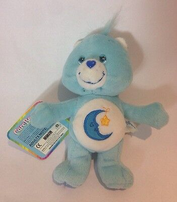 "Care Bears Bedtime Plush Bear Blue Moon Star Figure 7"" with all tags 