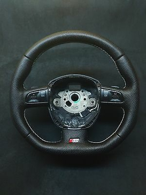 Steering Wheel Audi S5 Rs5 Perforated Leather  ! Flat Bottom Extra Padding