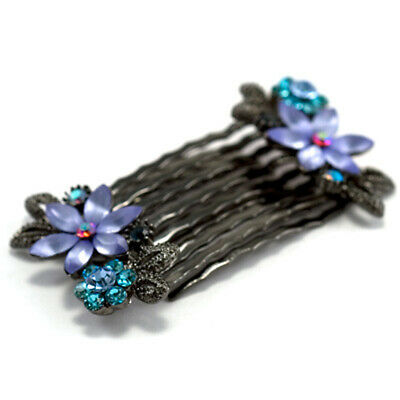 Hand Made Hair Jewelry Pair of small combs swarovski crystal flower pattern Blue