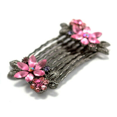 Hand Made Hair Jewelry Pair of small combs swarovski crystal flower pattern Pink