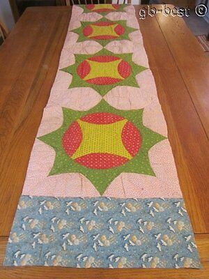 Mouth Watering PRUSSIAN Blue 1840/50s Crown Thorns TURKEY Red Table QUILT 84 x18