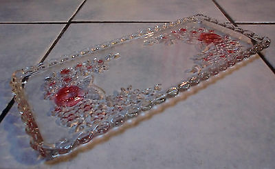 """Vintage Glass Tray 13.5"""" x 6.5"""" GREAT 1950s Transparent & Pink Glass with Roses"""