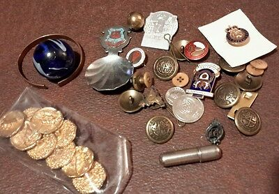 Selection of WW2 buttons badges Christmas card pewter flask