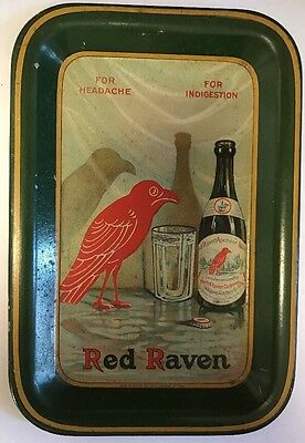 """Rare Antique Red Raven Splits """"for Headache Indegestion"""" Tin Tip Serving Tray"""