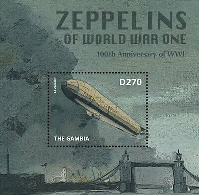 Gambia - Zeppelins of World War I, 2014 - S/S MNH