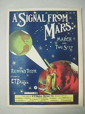 Vintage 1901 A Signal From Mars Sheet Music E.t. Paull Music Co. Bright Graphics