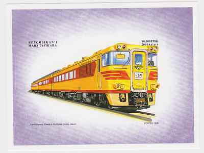 Madagascar - Trains, Railroads, 1999 - Sc 1429 S/S IMPERFORATE MNH