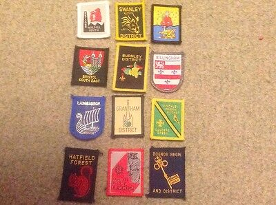 Scout badge collection of 12 District / County badges