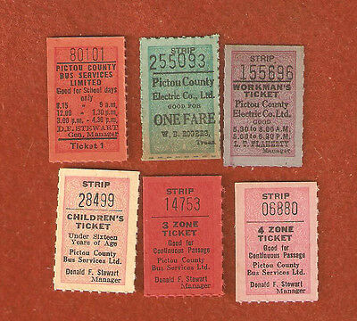 6 Different Pictou County Electric Co. Ltd. Transit Tickets (Nice Crisp Tickets)