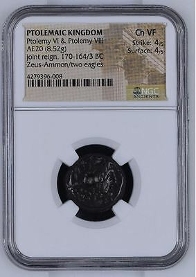 "NGC Greek/Egyptian Bronze, PTOLEMY VI and VIII, 2nd Century BC, Graded ""Ch VF"""