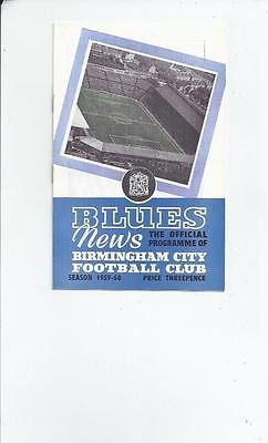 Birmingham City v Gilloise Fairs Cup Semi Final Football Programme 1959/60