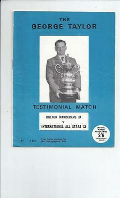 Bolton Wanderers v All Star X1 G Taylor Testimonial Football Programme 1960's