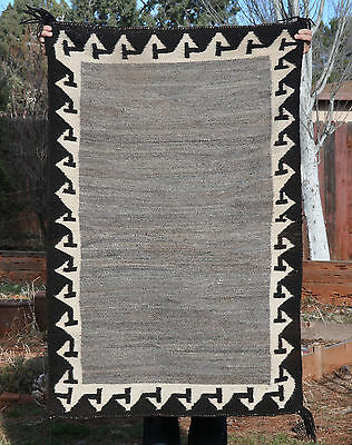 Rare Open Field Navajo Rug - Double Saddle Blanket - Varigated Grey Brown White