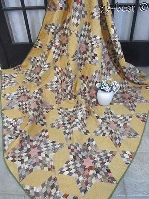 """TINY PIECES c 1870s Stars Antique Quilt MADDERS Brown 83"""" x 74"""""""