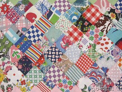 JEWEL BOX Vintage Postage Stamp QUILT Top  1 inch pieces FEEDSACK
