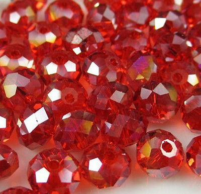 Jewelry Faceted 30pcs Rondelle glass crystal #5040 6x8mm Beads Red AB new F8W07