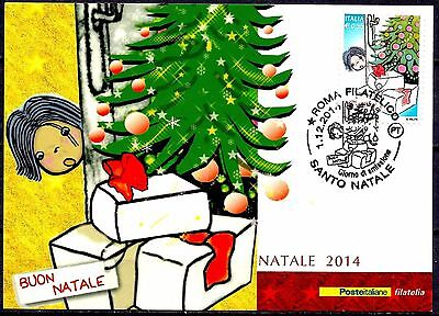 Italy 2014 Christmas Tree Greetings Gifts Child Animation Maxicard