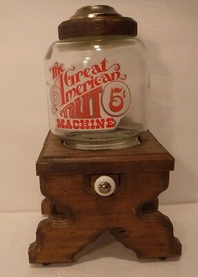 "Vintage ""The Great American Nut Machine"" Wood & Glass Dispensing Pull Drawer"