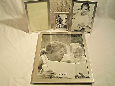 Set 4 Silver Metallic Picture Frames one 8x10 two 4x6 one 2x3