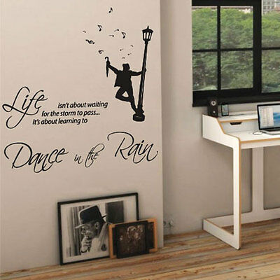Dance in the Rain Music Art Wall Quote Stickers Wall Decals Words Lettering 42