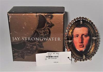 """Jay Strongwater, Italy, Amber Jewels, Oval Picture Frame, 3 1/2"""" x 2 3/4"""" in Box"""