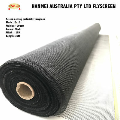 1220mm x 30m ROLL INSECT FLYWIRE WINDOW FLY SCREEN NET MESH FLYSCREEN (Black)
