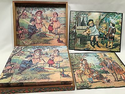 Puzzle Wooden Blocks 6 Sided In Wooden Box W/ 3 Cardboard Sheets Repoduction