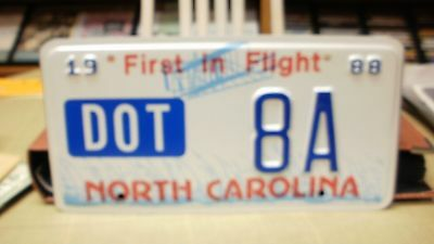 1988     North Carolina NC DOT  License Plate Low Number 8A
