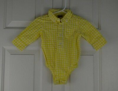 Baby Gap Yellow White Gingham Dress Shirt Bodysuit Infant Boy Size 3-6 Months