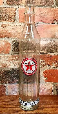 Texaco 1 Qt. Tall Glass Motor Oil Bottle without Spout