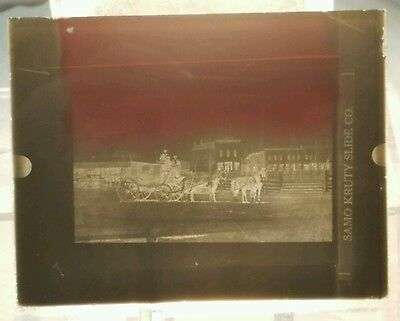 Vintage GLASS NEGATIVE SLIDE Old Photo Of Man Riding A Horse And Wagon