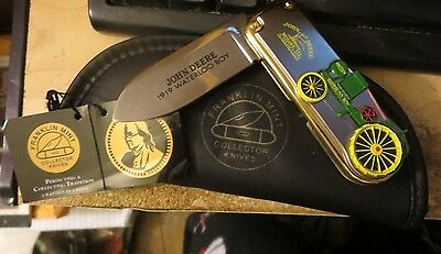 Franklin Mint John Deere Tractor Pocket Knife 1919 Waterloo Silver Gold Accented
