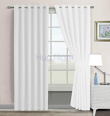 Modern Luxury Eyelet Curtains Ring Top Fully Lined Natural White 229*229cm