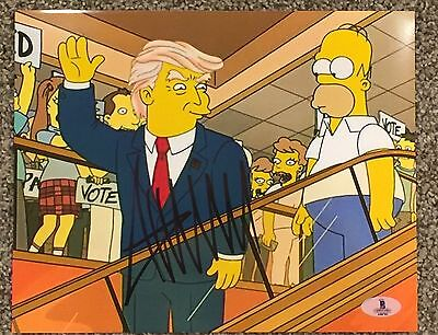 DONALD TRUMP Hand Signed 8x10 The Simpsons Photo Beckett BAS Authentication LOA
