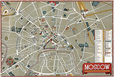 1938 Pictorial Street Map Moscow Russia Poster Print Decor Vintage History
