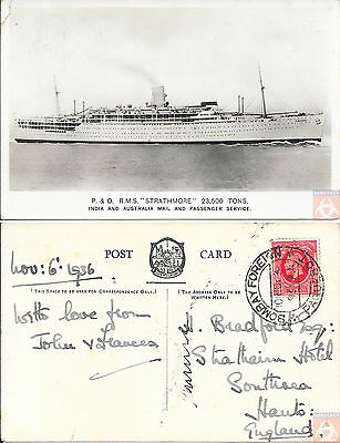 Angleterre - Carte Postale PAQUEBOT - STRATHMORE - Posted at Sea 1936 - Bombay