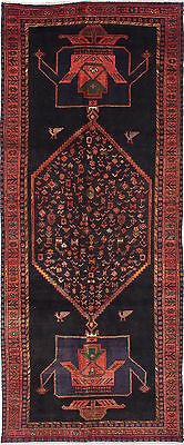 """Hand-knotted Persian Vintage Black, Dark Copper Wool Rug 4'8"""" x 11'3"""""""