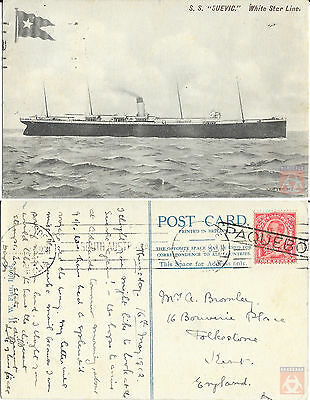 Angleterre - PAQUEBOT - SUEVIC - Posted at Sea 1912 - Adelaide - Australie