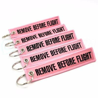 REMOVE BEFORE FLIGHT KEYCHAIN - PINK / Black QTY= 5 TAGS - FLAG PILOT CREW