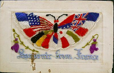 Ww1 Silk Postcard - Souvenir From France. With Flap