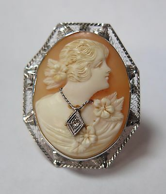 Antique Victorian 14k Solid White Gold Cameo With Diamond Brooch Pin Pendant