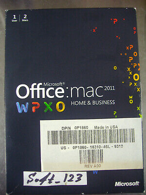 MS Microsoft Office MAC 2011 Home and Business Licensed for 2 MACs =RETAIL BOX=