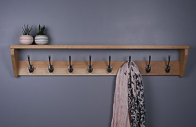 Vintage Oak Coat Rack With Shelf - Wooden Coat Rack - Cast Iron Hooks - Fiddes