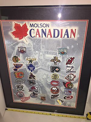 Molson Canadian Factory Hockey Team Patches Complete Framed Set Advertising