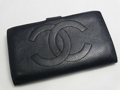 US SELLER Authentic CHANEL LONG WALLET BLACK CAVIAR LEATHER LARGE COCO ITALY