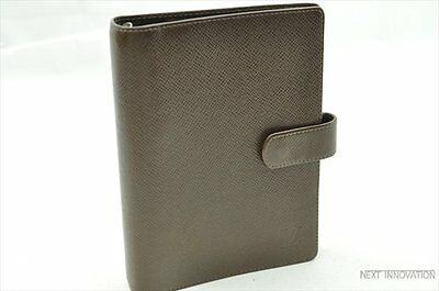 Authentic Louis Vuitton Taiga Agenda MM Day Planner Cover Brown LV R047