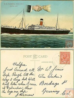 Angleterre - Carte Postale PAQUEBOT - S.S. TUNISIAN - Posted at Sea 1912 - Halif