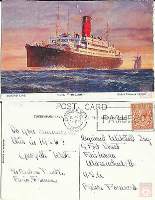 Angleterre - PAQUEBOT - TUSCANIA - Posted at Sea 1928 - Plymouth Devon